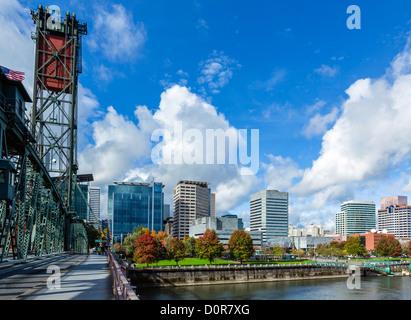 The city skyline viewed from the Hawthorne Bridge, Portland, Oregon, USA - Stock Photo