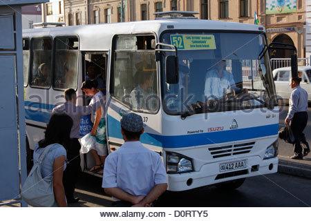 Bus in Samarkand, Uzbekistan - Stock Photo
