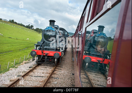 A steam engine on the Strathspey Railway, a preserved heritage line in the Scottish Highlands - Stock Photo