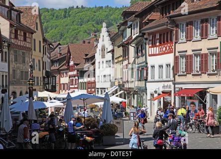 Travel, Geography, Architecture, Culture, Europe, Switzerland, Schaffhausen, Stein am Rhein, Town, People, Horizontal - Stock Photo