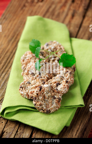 Healthy cookies made from rolled oats and seeds - Stock Photo