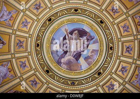 Religious mosaic of The God on St Stephen Basilica dome interior in Budapest, Hungary. - Stock Photo