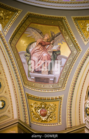 Angel mosaic on the St Stephen Basilica dome in Budapest, Hungary. - Stock Photo