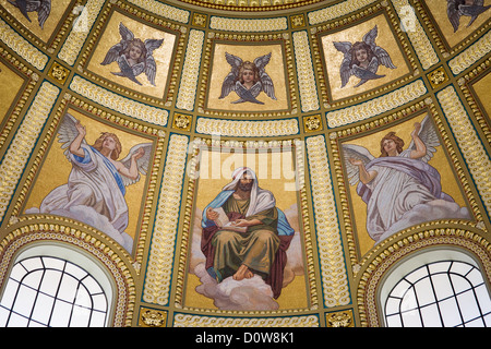 Religious mosaic on dome interior of St Stephen Basilica in Budapest, Hungary. - Stock Photo