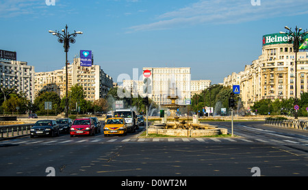BUCHAREST, ROMANIA - September 29, 2012: View of Bulevardul Unirii, (Unification Boulevard) close the sqaure of - Stock Photo