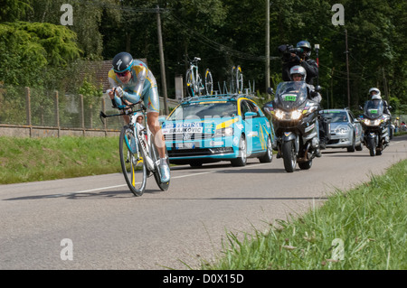 Janez Brajkovic of team Astana on the 19th Time Trial stage of the 2012 Tour de France near Illiers-Combray in the - Stock Photo