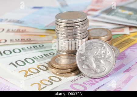 Berlin, Germany, Euro notes, Euromuenzen and Australian 20-cent coin - Stock Photo