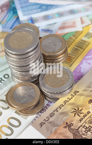 Berlin, Germany, Euro notes, Euromuenzen and Australian one-dollar bill - Stock Photo