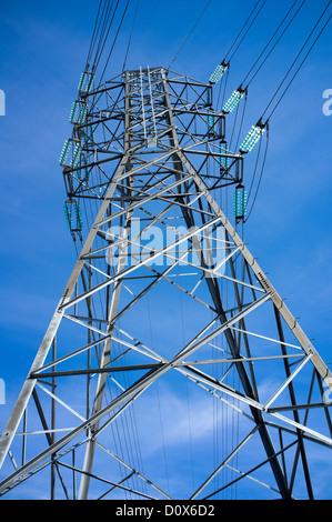 High voltage power line pylon , Finland - Stock Photo
