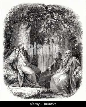 Victorian woodcut engraving circa 1864 showing Archdruid talking with group of Druids in a woodland setting. - Stock Photo