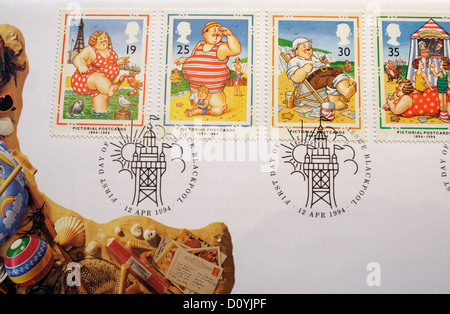Commemorative First day Postage Stamp issued by the Royal Mail - Pictorial Postcards in 1994 - Stock Photo