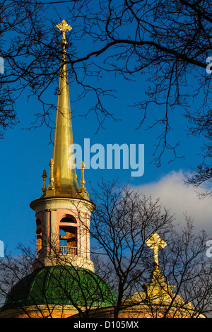 Peter and Paul Cathedral bell tower spire, St. Petersburg, Russia - Stock Photo