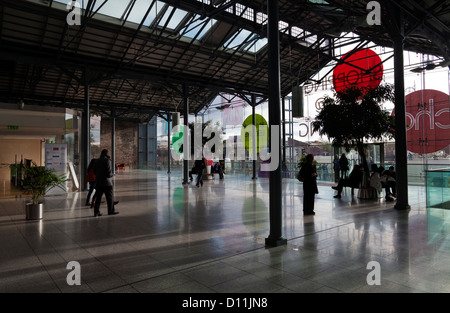 The CHQ Building - a shopping Mall in the IFSC Docklands on the north bank of the River Liffey, Dublin, Ireland - Stock Photo