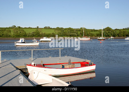 River Teifi and boats St Dogmaeils Pembrokeshire Wales UK - Stock Photo