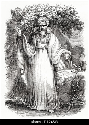 Archdruid in full ceremonial costume. Victorian woodcut engraving circa 1845. - Stock Photo