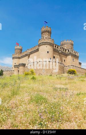 15Th Century Castle Of Los Mendoza; Manzanares El Real Comunidad De Madrid Spain - Stock Photo