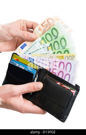 Male hands taking out European banknotes from wallet over white background. - Stock Photo