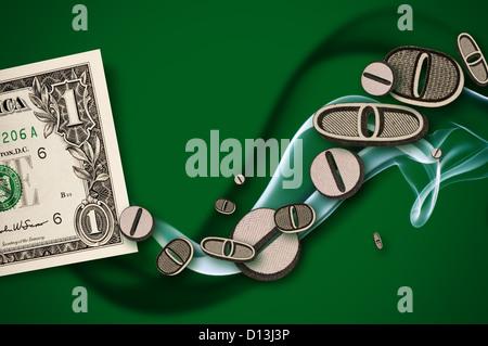 money concept financial diagram with smoke - Stock Photo