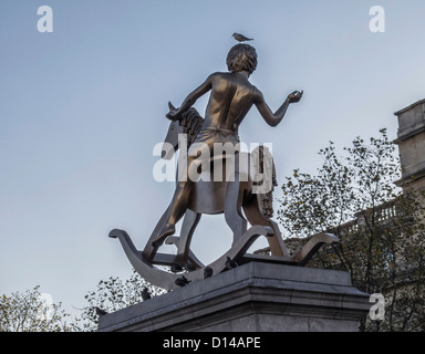 Sculpture of a boy on a rocking horse on the Fourth Plinth in Trafalgar Square. 'Powerless structures' by Elmgreen - Stock Photo