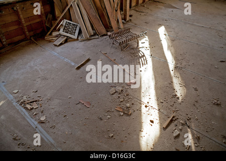 A house that has sat vacant for years shows signs of wear and tear. - Stock Photo