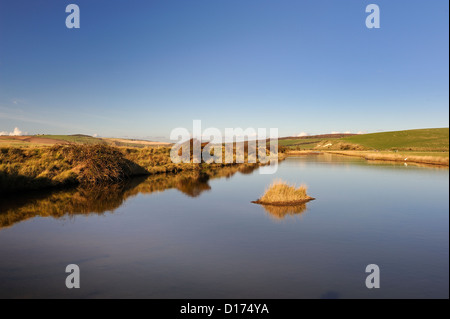 Still pool of salt water  at Cuckmere Haven Nature reserve - Stock Photo