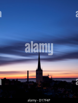 Silhouette of church steeple against sky - Stock Photo