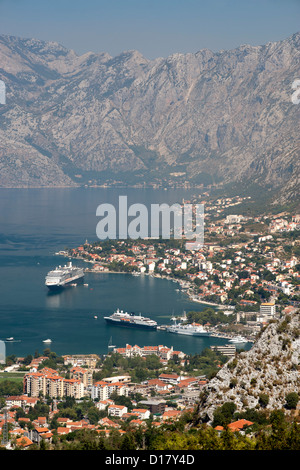 View of Kotor bay and Kotor town in Montenegro. - Stock Photo