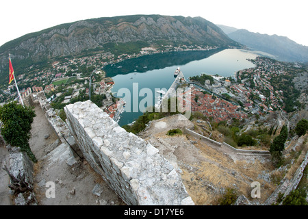 Dawn view of Kotor Bay and Kotor town in Montenegro. - Stock Photo