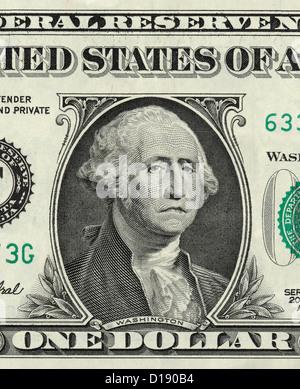 George Washington on one US dollar with sad expression - Stock Photo