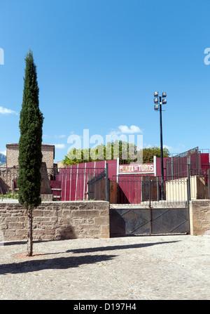 The Plaza de Toros bullfighting ring in Laguardia in the Basque Country Spain - Stock Photo