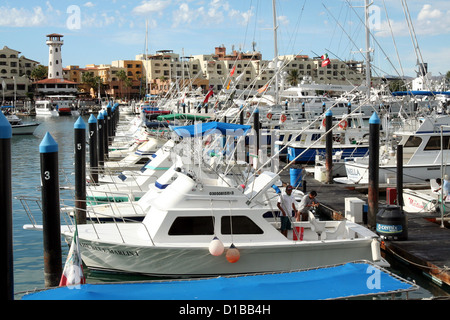 Boats and yachts at Cabo San Lucas Marina - Stock Photo
