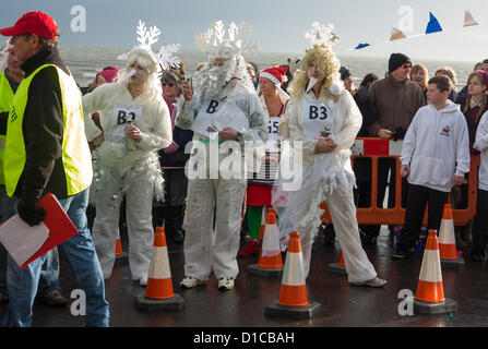 Lyme Regis, Dorset, UK. 15th December 2012. A team of local artists dressed as Frost line up ahead of the First - Stock Photo