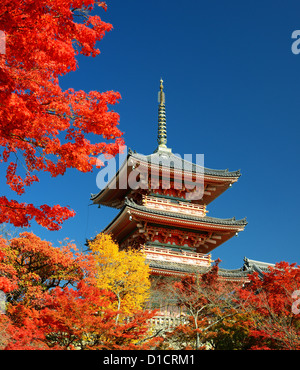 The pagoda of Kiyomizu-dera in Kyoto, Japan. - Stock Photo