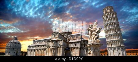 Panorama of The Duomo & Leaning Tower of Pisa at sunset, Italy - Stock Photo
