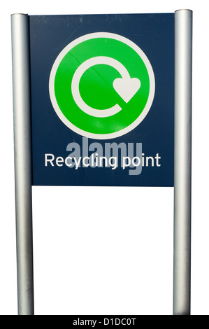 A cutout of a sign indicating a recycling point, isolated against a white background. - Stock Photo