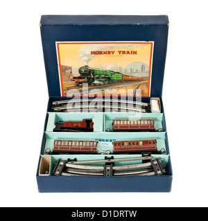 Rare 1950's Hornby (Meccano) No 101 Tank Passenger Train Set with clockwork tinplate locomotive and carriages (O - Stock Photo