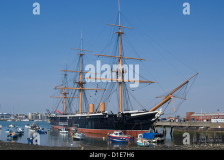 HMS Warrior, built for the Royal Navy in 1860, Portsmouth Historic Docks, Portsmouth, Hampshire, England - Stock Photo