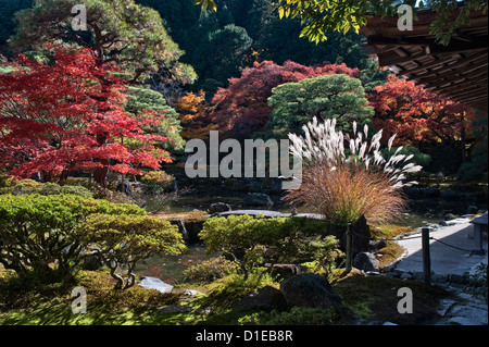 Ginkaku-ji Temple (also Jisho-ji or the Silver Pavilion), Kyoto, Japan. The garden in autumn - Stock Photo
