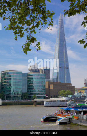 View of The Shard from the Embankment, London, England, United Kingdom, Europe - Stock Photo
