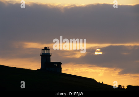Belle Tout lighthouse on cliffs at sunset, near Birling Gap, East Sussex, England, United Kingdom, Europe - Stock Photo