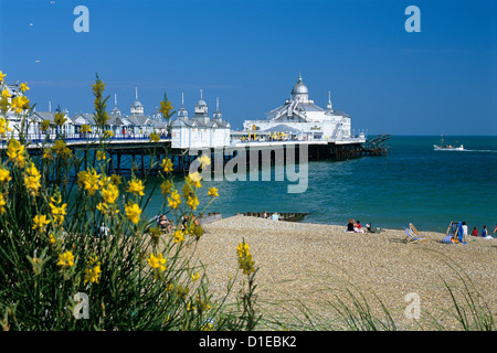 View over beach and pier, Eastbourne, East Sussex, England, United Kingdom, Europe - Stock Photo