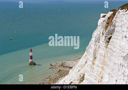 Beach Head Lighthouse, near Eastbourne, East Sussex, England, United Kingdom, Europe - Stock Photo