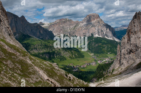 Mountainscape in the Sella Group, Dolomites, South Tyrol, Italy - Stock Photo