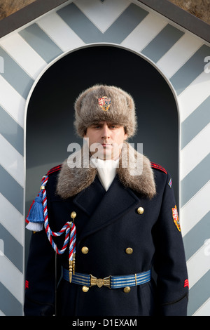 A guard at Prague Castle Pražský hrad Praha during winter in the Czech Republic. - Stock Photo