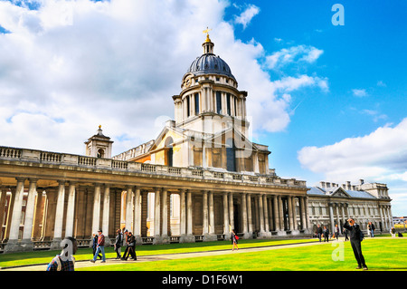 Old Royal Naval College (now home to the University of Greenwich and Trinity College of Music), Greenwich, London, - Stock Photo