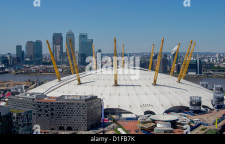 The O2 Arena in Greenwich with Canary Wharf behind, Docklands, London, England, United Kingdom, Europe - Stock Photo