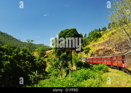 View from train, Central Highlands, Sri Lanka, Asia - Stock Photo