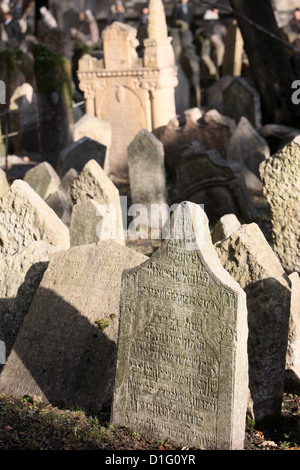 Tombstones in the Old Jewish Cemetery in Josefov, the Jewish district in the Old Town, Prague, Czech Republic, Europe - Stock Photo