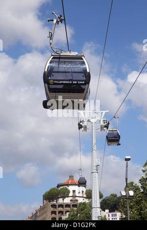 Cable car along the riverside, Vila Nova de Gaia, Porto, Douro, Portugal, Europe - Stock Photo