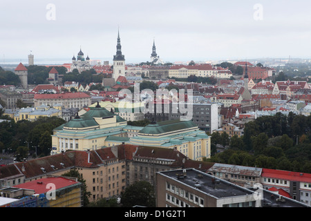 Buildings and skyline of the city centre, Old Town, UNESCO World Heritage Site, Tallinn, Estonia, Europe - Stock Photo